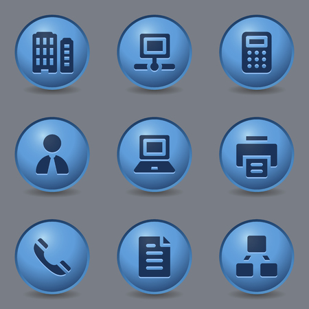 blue buttons: Office web icons, circle blue buttons Illustration