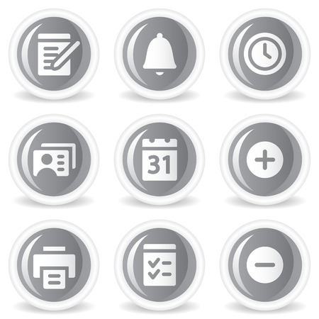 Organizer web icons, grey glossy circle  buttons Vector