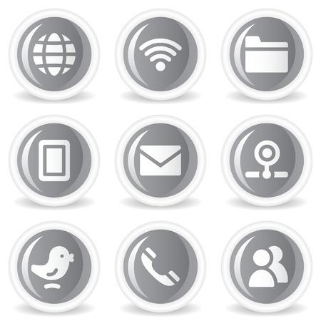 webcamera: Communication web icons, grey glossy circle  buttons
