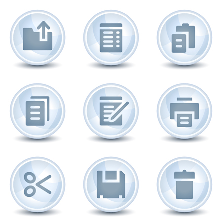 Document web icons, light blue glossy circle  buttons Vector