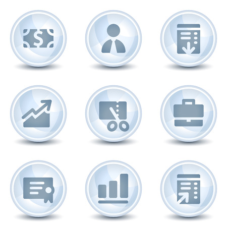 Finance web icons, light blue glossy circle  buttons