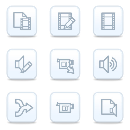 shuffle: Audio video edit web icons, square buttons Illustration