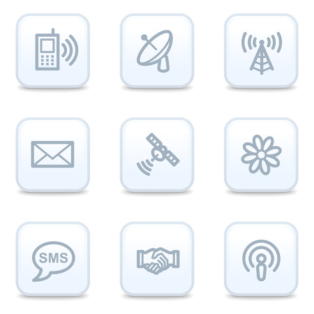 access point: Communication web icons, square buttons Illustration