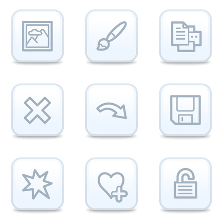 Image viewer web icons, square buttons Vector