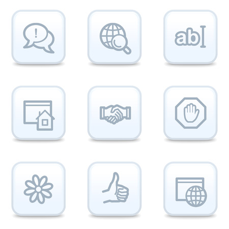 Internet web icons, square buttons Vector