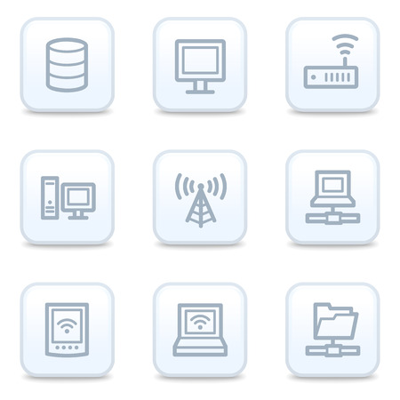 Network web icons, square buttons Illustration