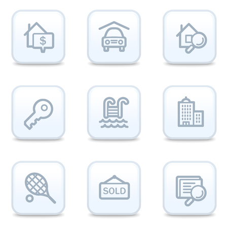 swimming pool home: Real estate web icons, square buttons