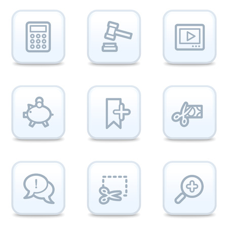 Shopping web icons, square buttons Vector
