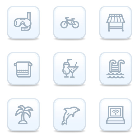 Vacation web icons, square buttons Vector