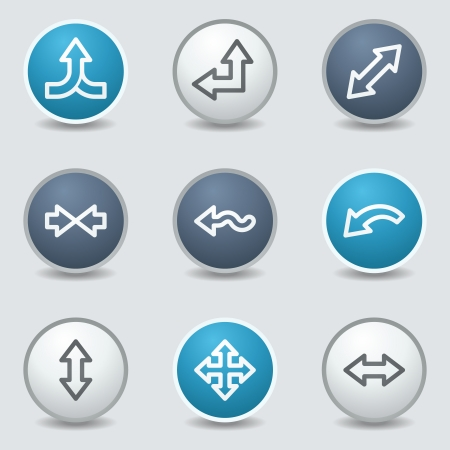 turn up: Arrows web icons, circle blue buttons