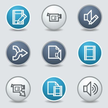 blue buttons: Audio video edit web icons, circle blue buttons Illustration