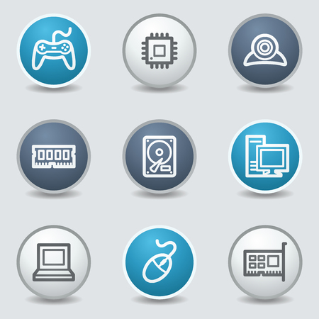 Computer web icons, circle blue buttons