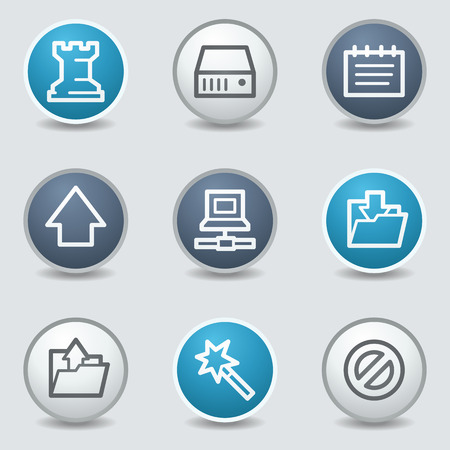 blue buttons: Data web icons, circle blue buttons