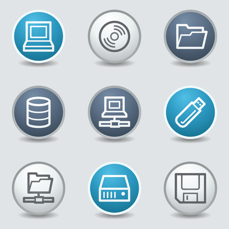 blue buttons: Drive storage web icons, circle blue buttons