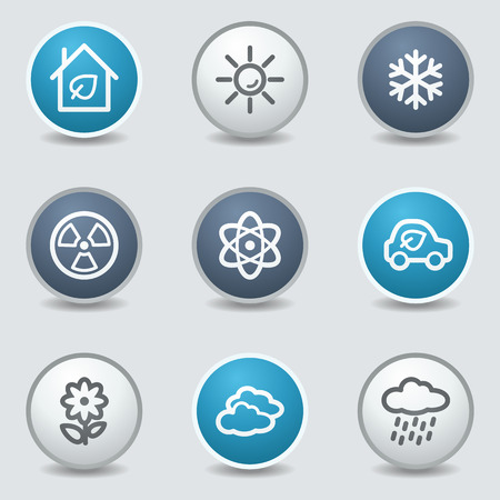 Ecology web icons, circle blue buttons Vector