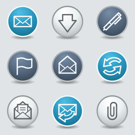 blue buttons: E-mail web icons, circle blue buttons