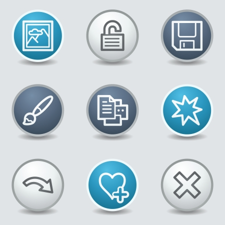 and viewer: Image viewer web icons, circle blue buttons