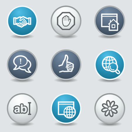 Internet web icons, circle blue buttons Illustration