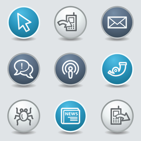 blue buttons: Internet web icons, circle blue buttons Illustration