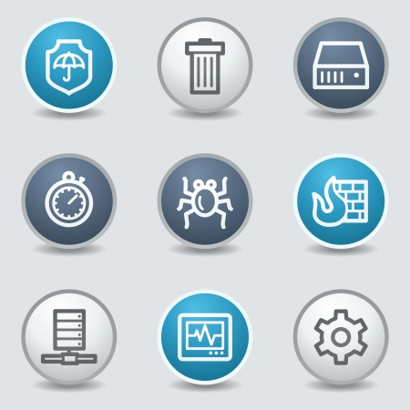 blue buttons: Internet security web icons, circle blue buttons