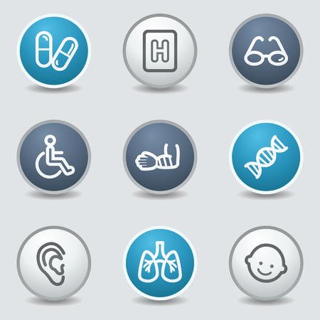 Medycyna sieci web ikony, koło niebieskie przyciski