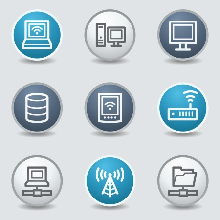 access point: Network web icons, circle blue buttons