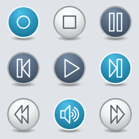 blue buttons: Media player web icons, circle blue buttons