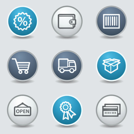 blue buttons: Shopping web icons, circle blue buttons Illustration