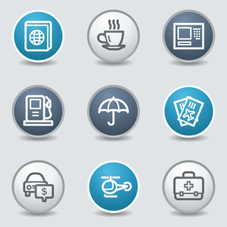 blue buttons: Travel web icons, circle blue buttons