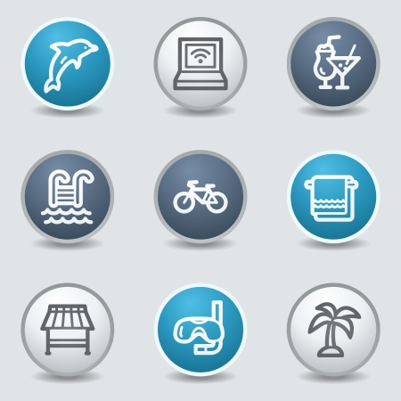 blue buttons: Vacation web icons, circle blue buttons