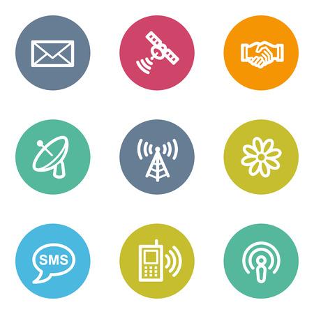 matt: Communication web icons, color circle buttons Illustration