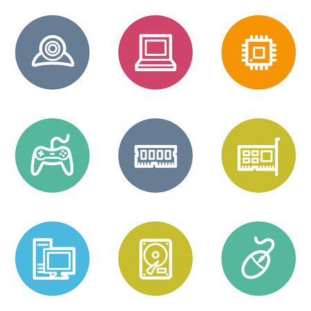 Computer web icons, color circle buttons Vector