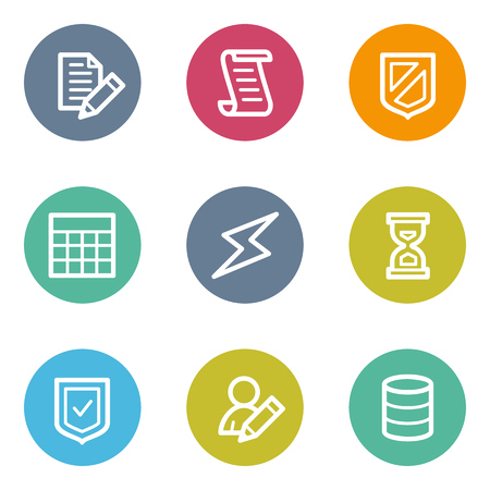 database icon: Database web icons, color circle buttons