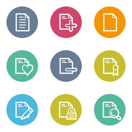 Document web icons set 2, color circle buttons Vector
