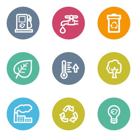 ahorrar agua: Ecología web iconos conjunto 1, botones de círculo de color Vectores