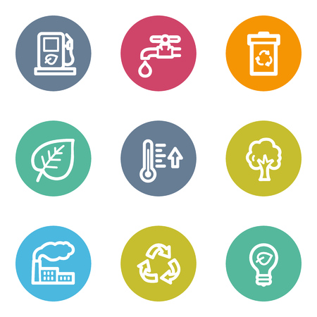 Ecology web icons set 1, color circle buttons Vector