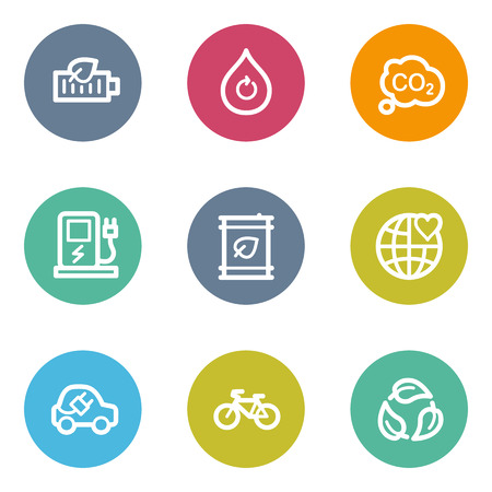 Ecology web icons set 4, color circle buttons