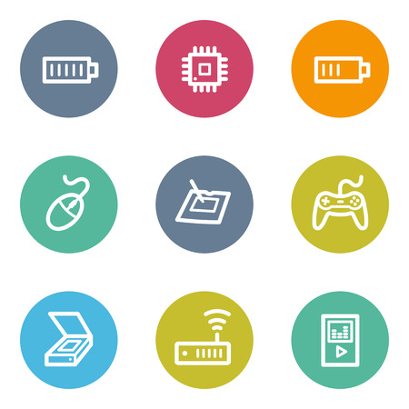 Electronics web icons set 2, color circle buttons Vector