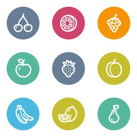 matt: Fruits web icons, color circle buttons