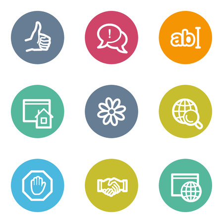Internet web icons set 1, color circle buttons Vector