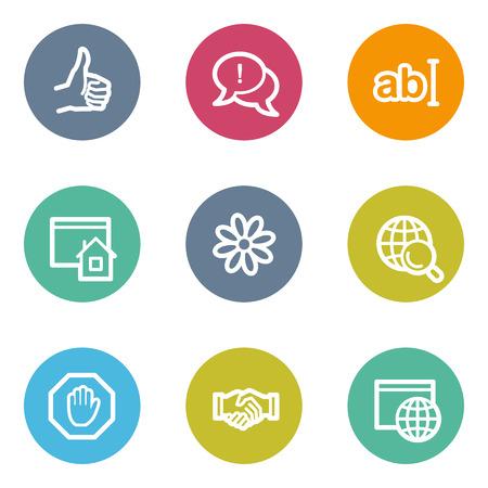 Internet web icons set 1, color circle buttons