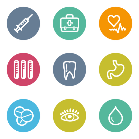 Medicine web icons set 1, color circle buttons Vector