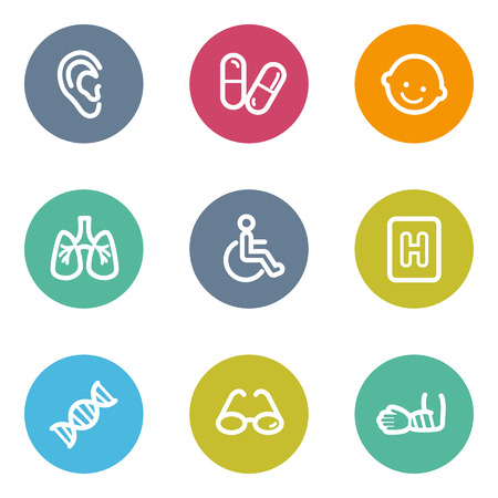 Medicine web icons set 2, color circle buttons Vector