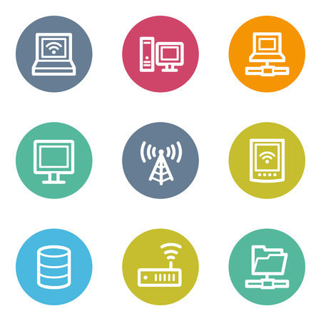 nettop: Network web icons, color circle buttons