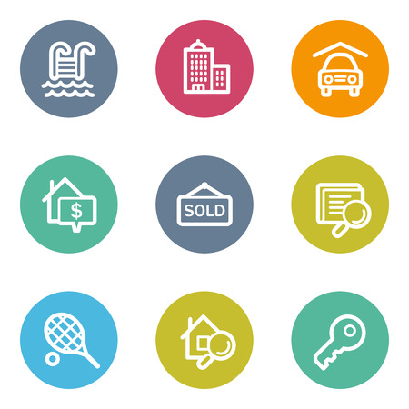 Real estate web icons, color circle buttons