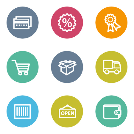 billfold: Shopping web icons set 2, color circle buttons