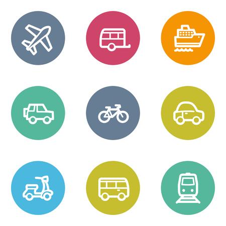 matt: Transport web icons, color circle buttons Illustration