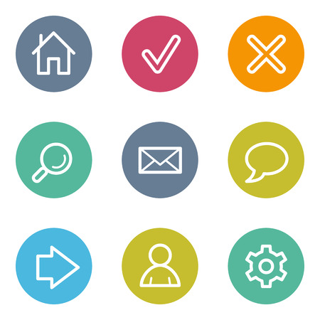 icon home: Basic web icons, color circle buttons Illustration