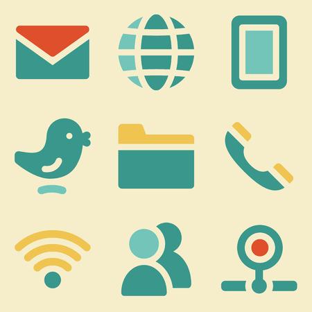 webcamera: Communication web icons retro color series