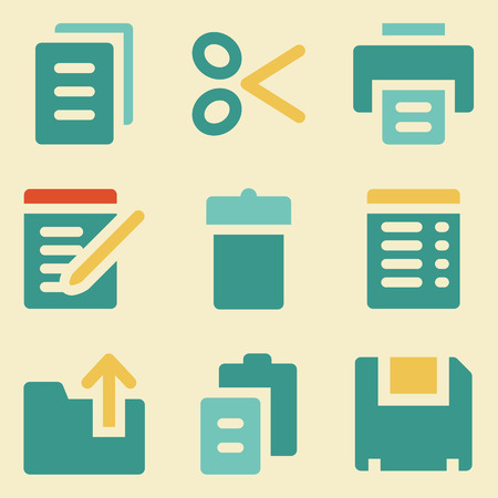 Document web icons retro color series Vector